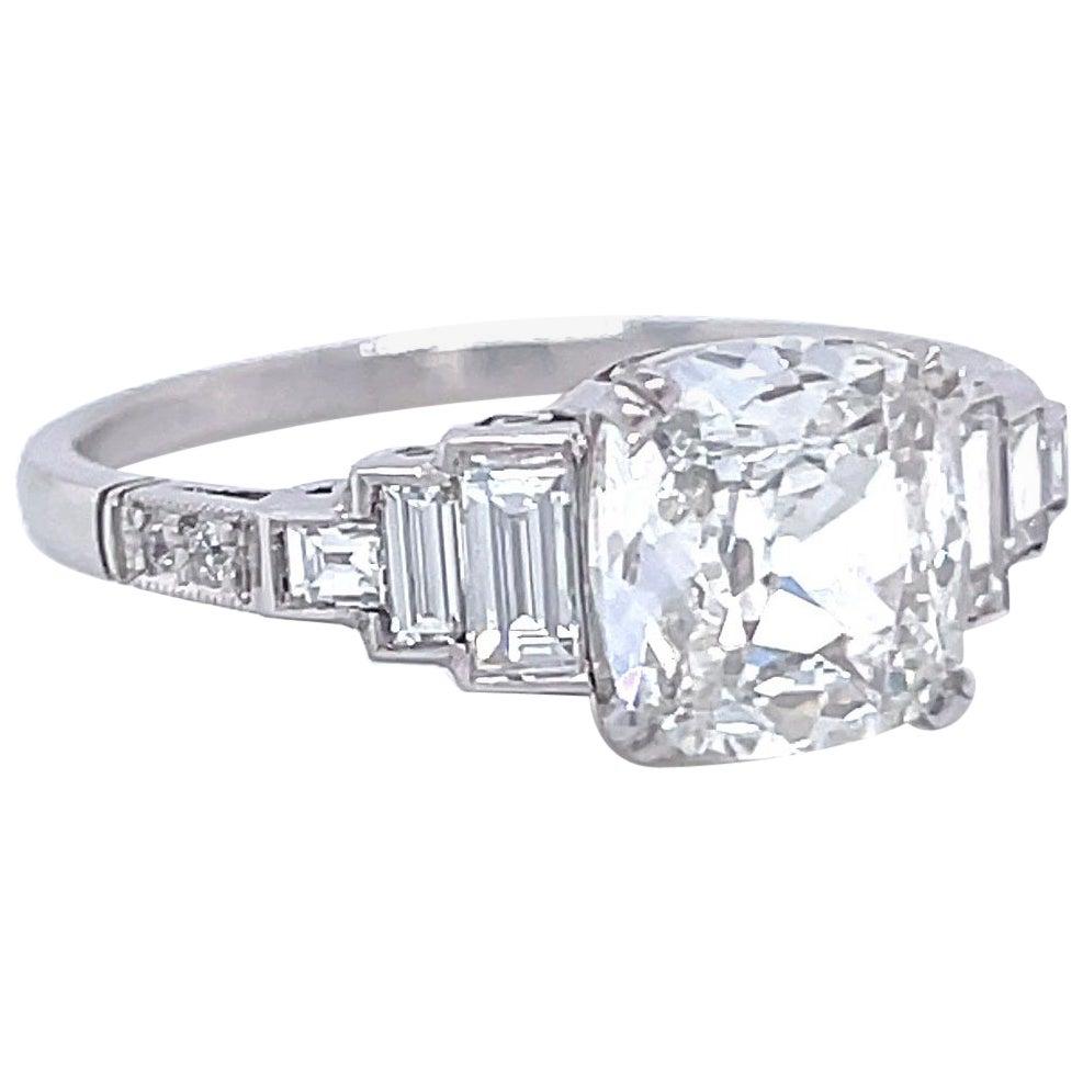 Art Deco Inspired GIA 1.51 Carat Old Mine Cut Diamond Platinum Engagement Ring