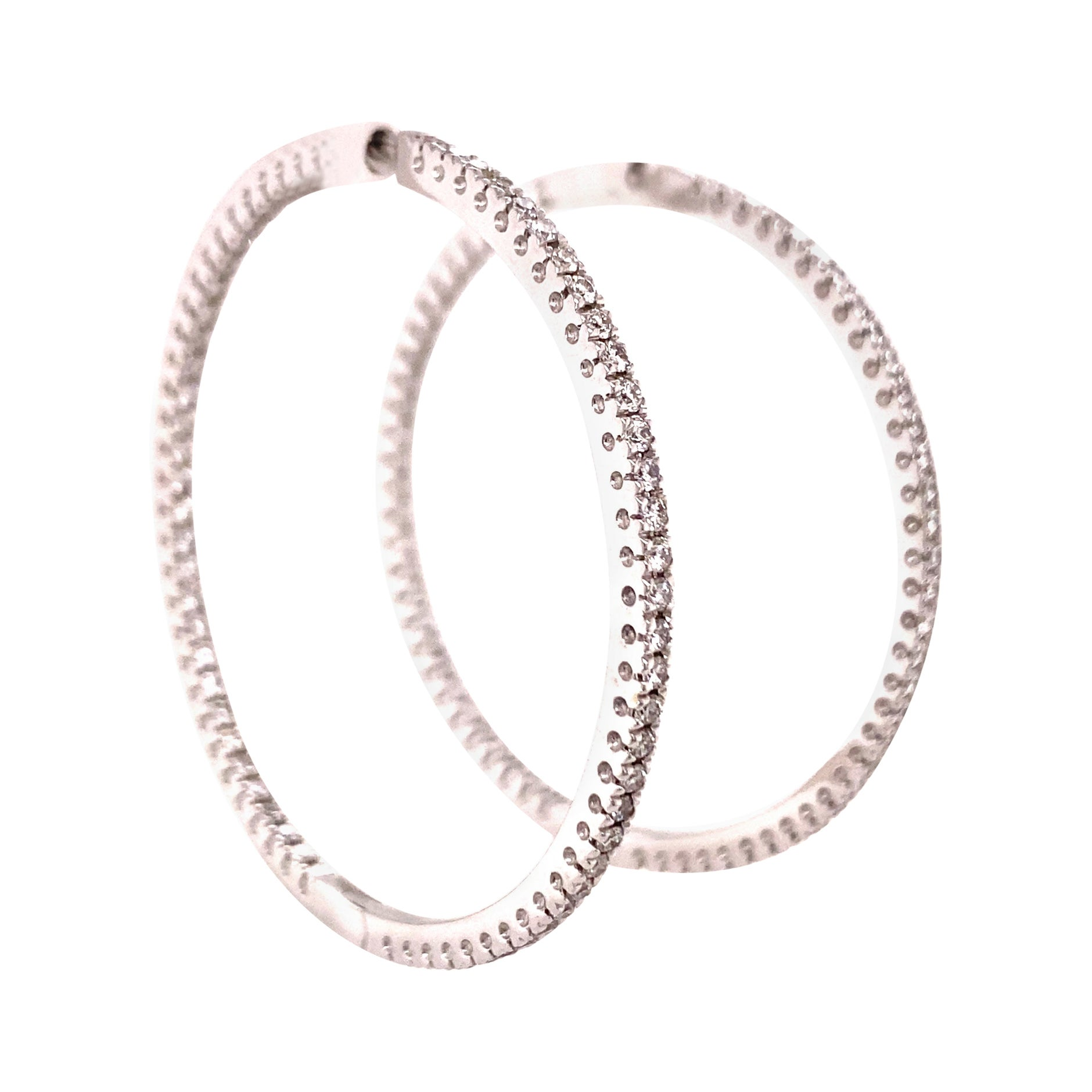 Classic Diamond Hoop Earrings in 18 Karat White Gold