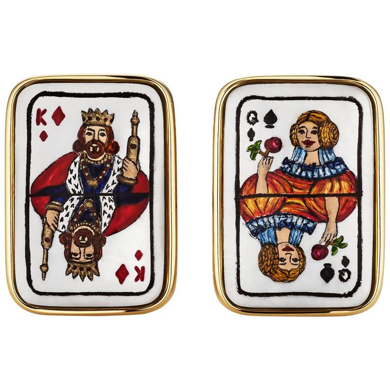 Enamel Mother-of-Pearl Gold Playing Card Cufflinks For Sale