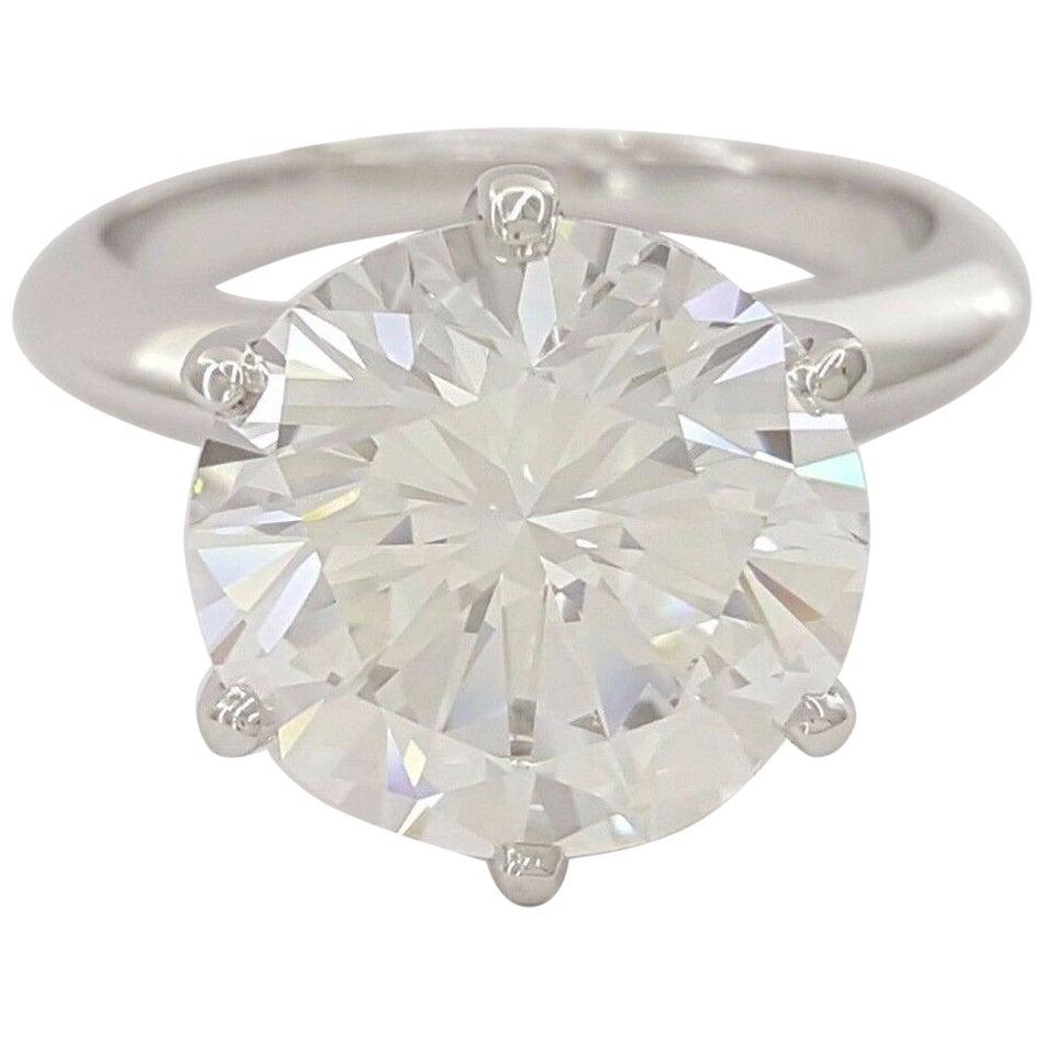 GIA Certified 3.50 Carat Round Brilliant Cut Diamond Platinum Ring