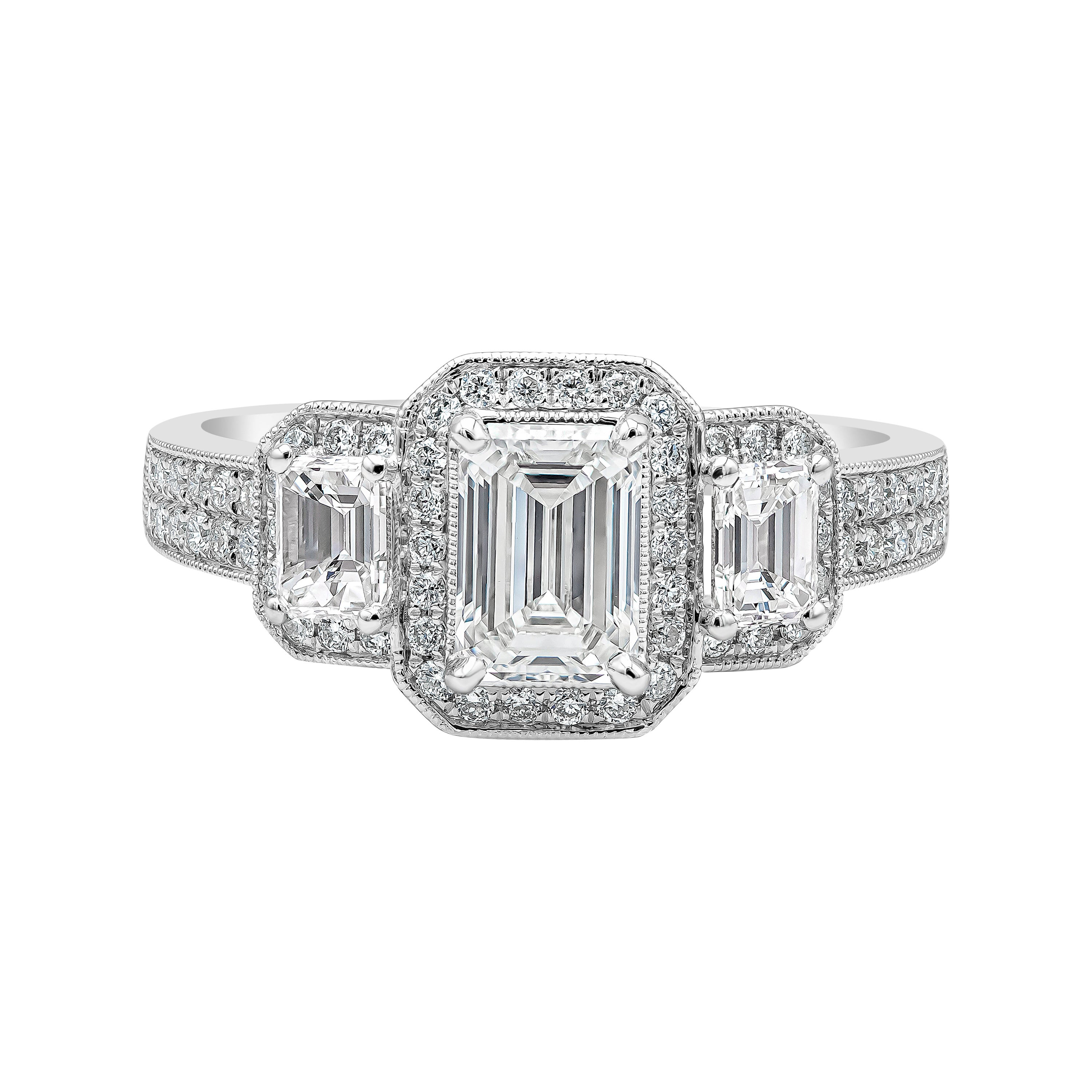 GIA Certified Emerald Cut Diamond Three-Stone Halo Engagement Ring