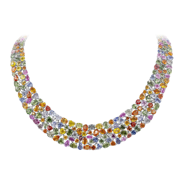 161.55 Carat Multi-Color Sapphire and Diamond Necklace