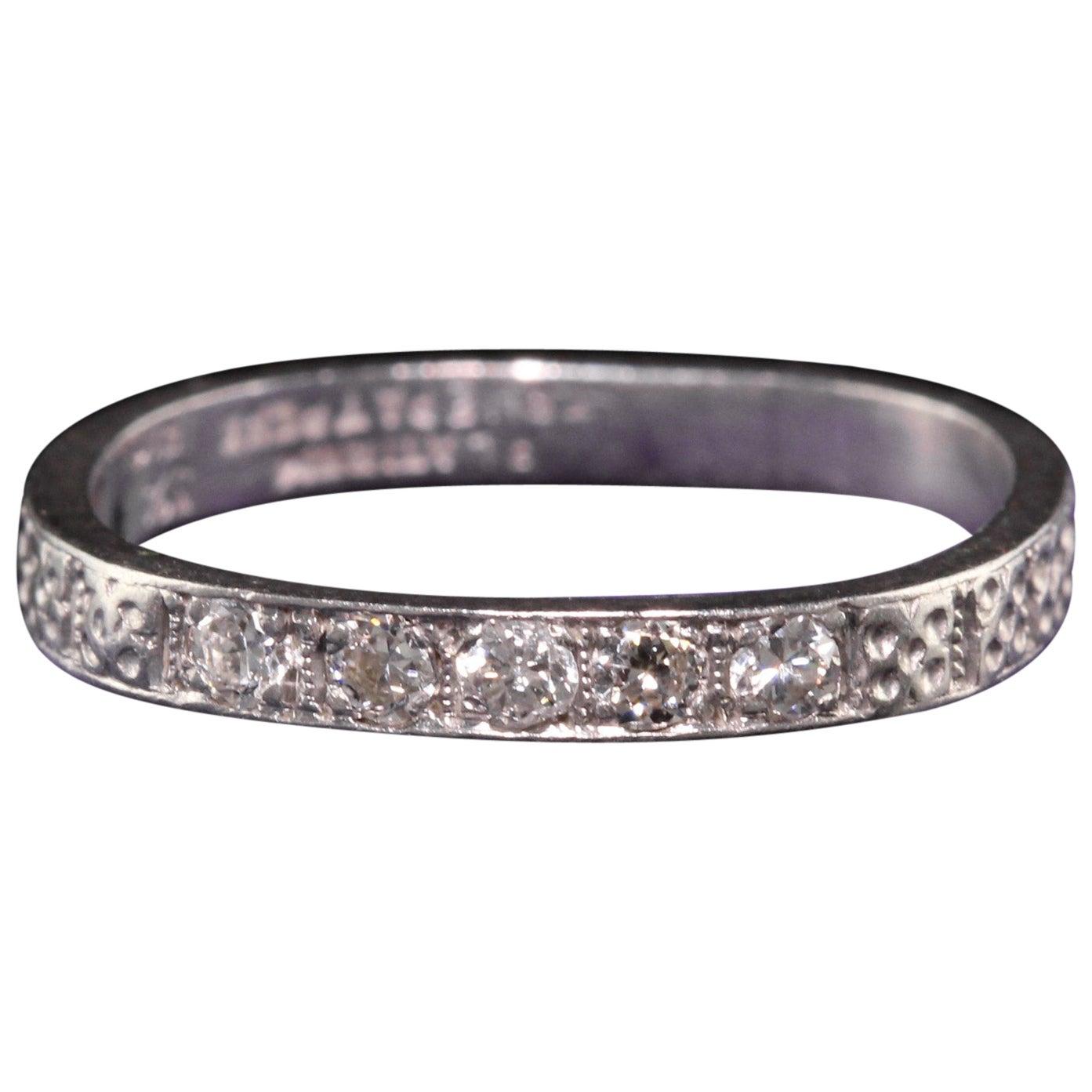 Antique Art Deco Platinum Five Diamond Engraved Wedding Band