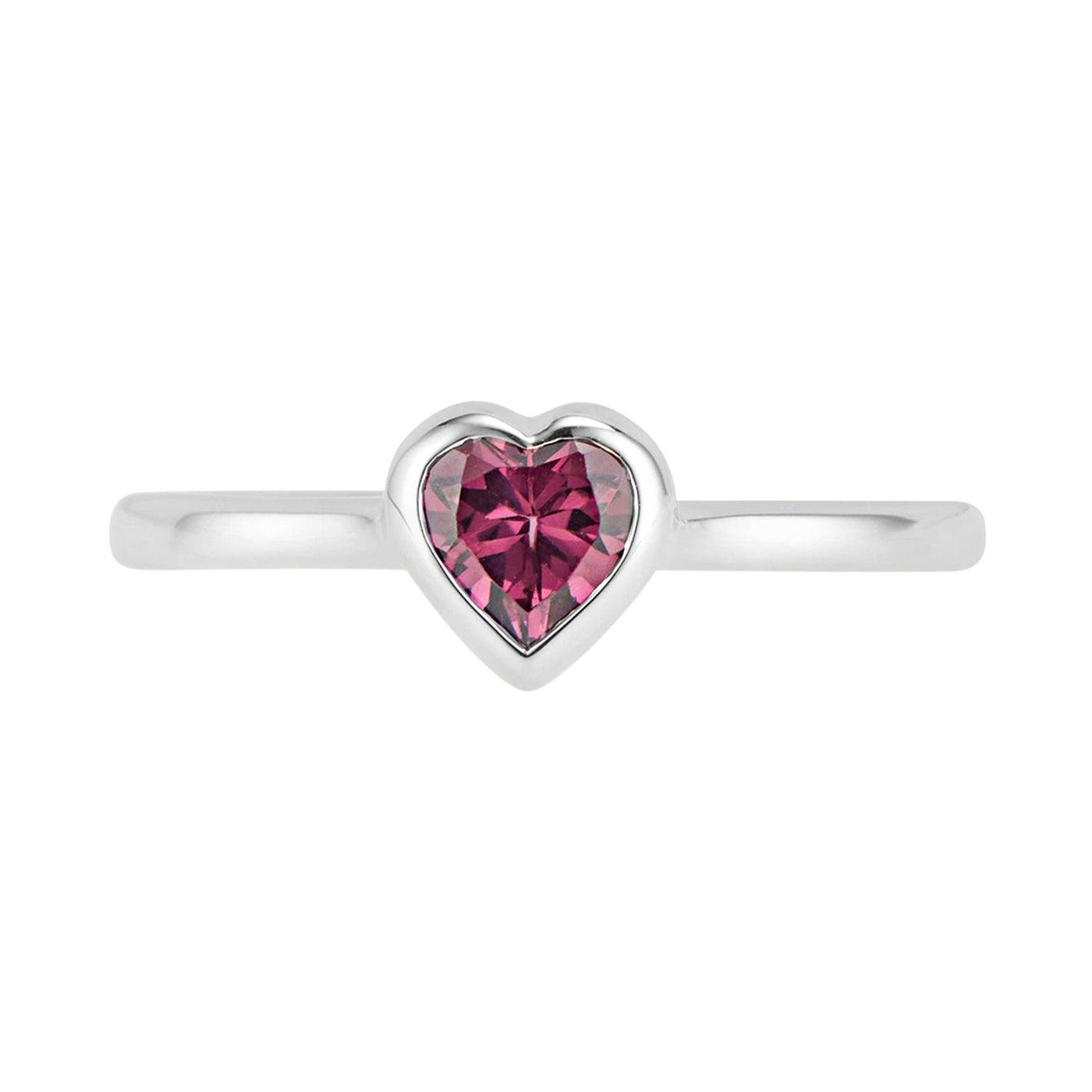14K White Gold Rhodolite Garnet Heart Ring
