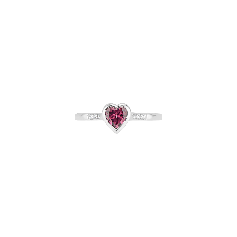 14k White Gold Diamond and Rhodolite Garnet Heart Ring