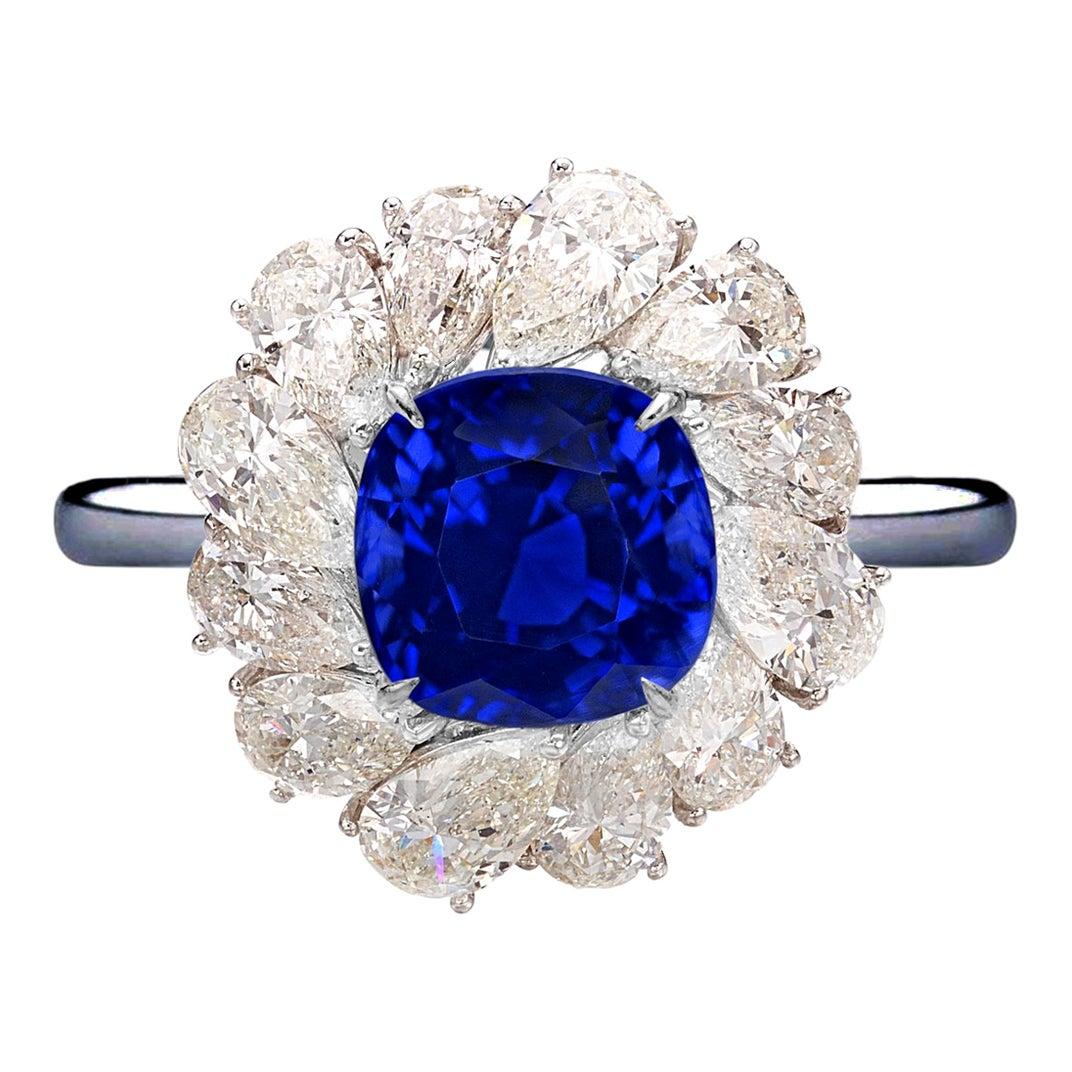 GRS Switzerland 3.50 Carats Vivid Royal Blue Sapphire Pear Cut Cocktail Ring