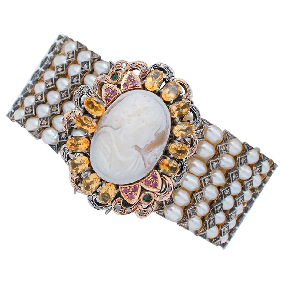 Emeralds,Rubies,Diamonds,Topaz,Pearls,Cameo,9kt Rose Gold and Silver Bracelet