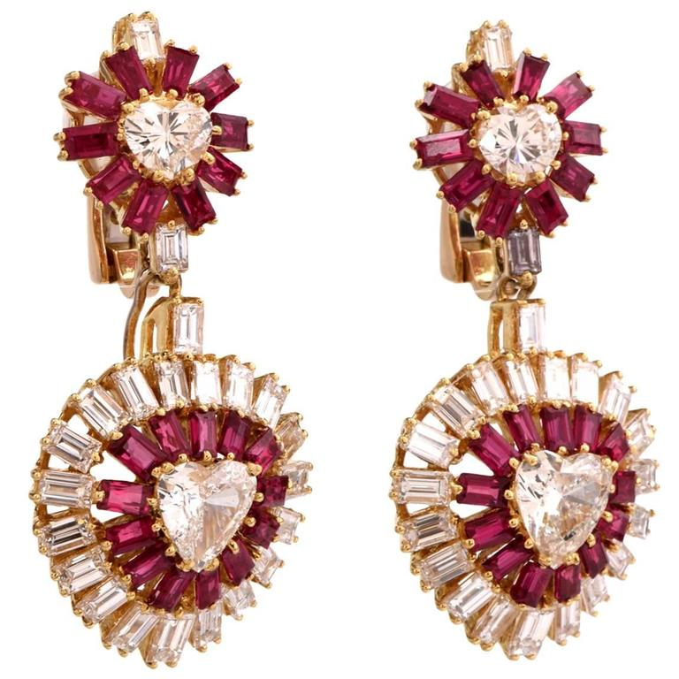 Ruby Diamond Gold Day and Night Heart Earrings