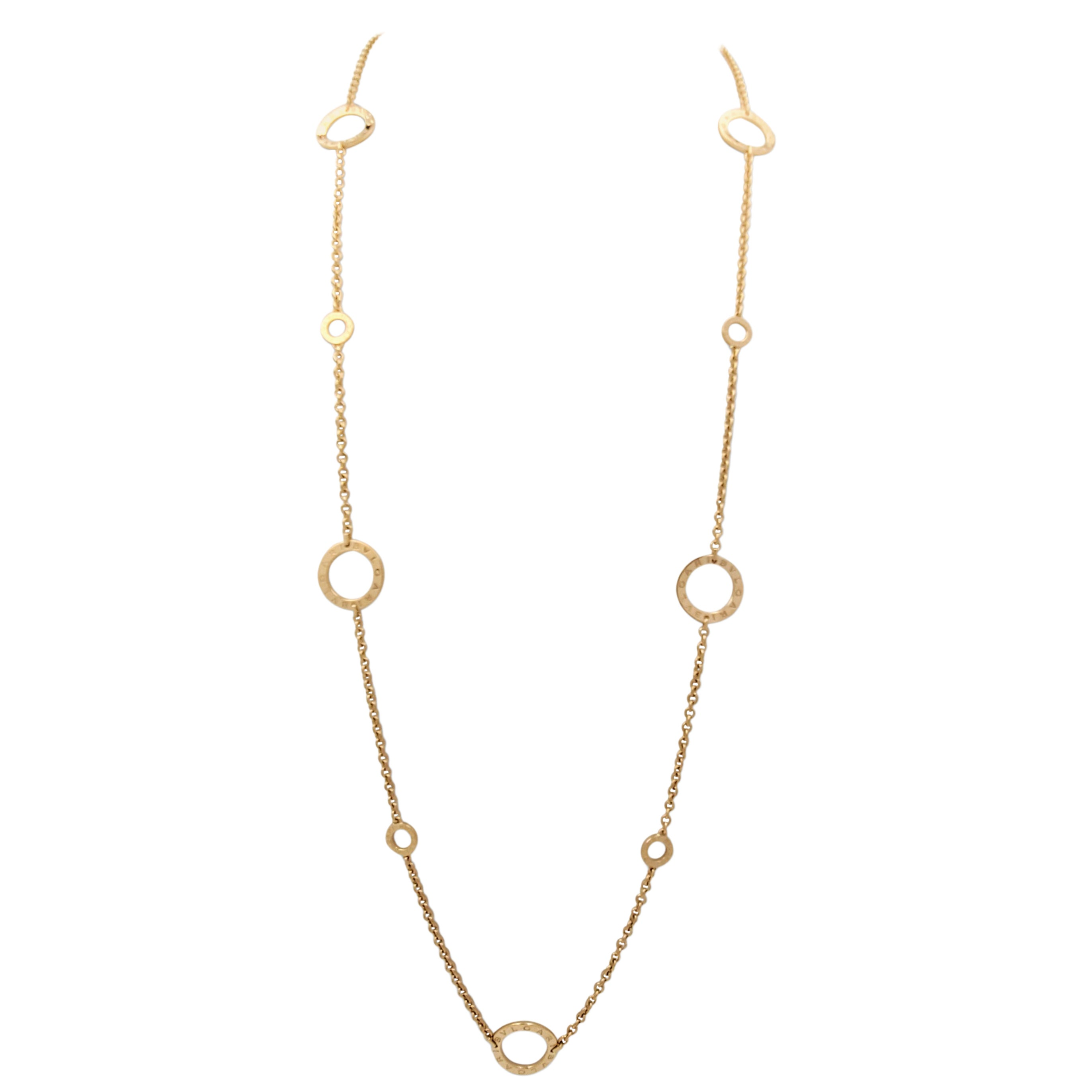 Bvlagri 'Bvlgari-Bvlgari' Signature Yellow Gold Long Chain Necklace