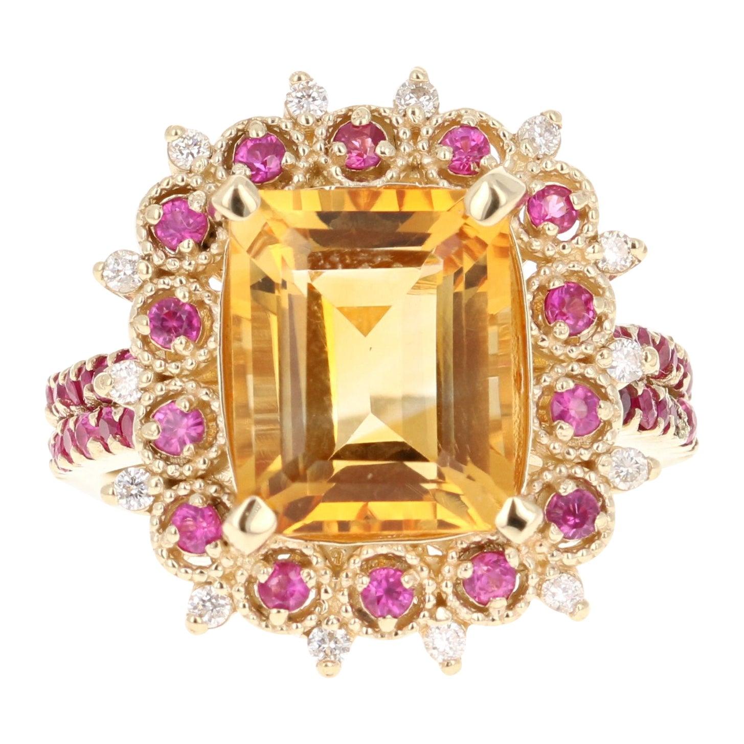 Emerald Cut Citrine, Sapphire and Diamond 14 Karat Yellow Gold Ring