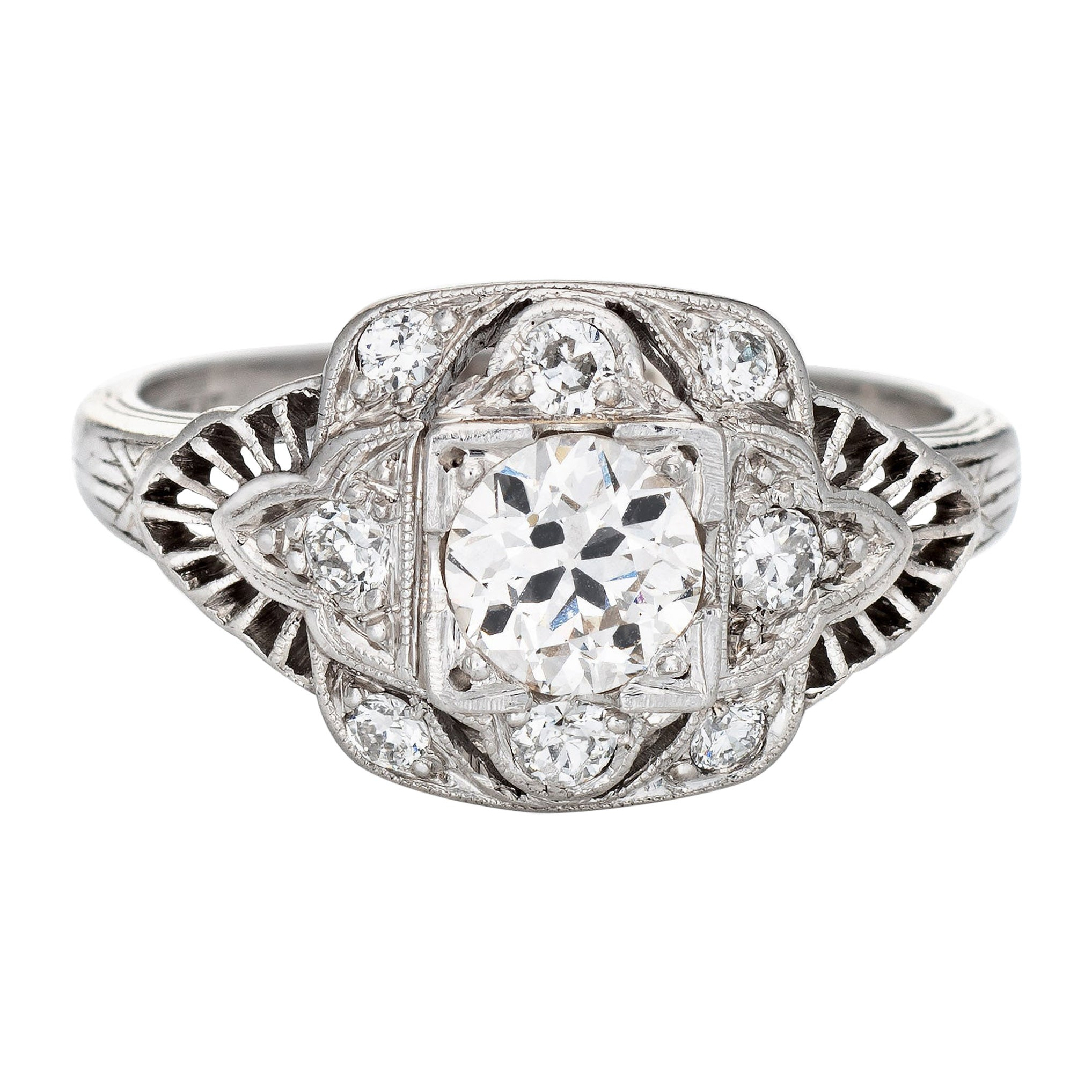 Vintage Art Deco 0.57ct Diamond Ring GIA Platinum Engagement Estate Jewelry