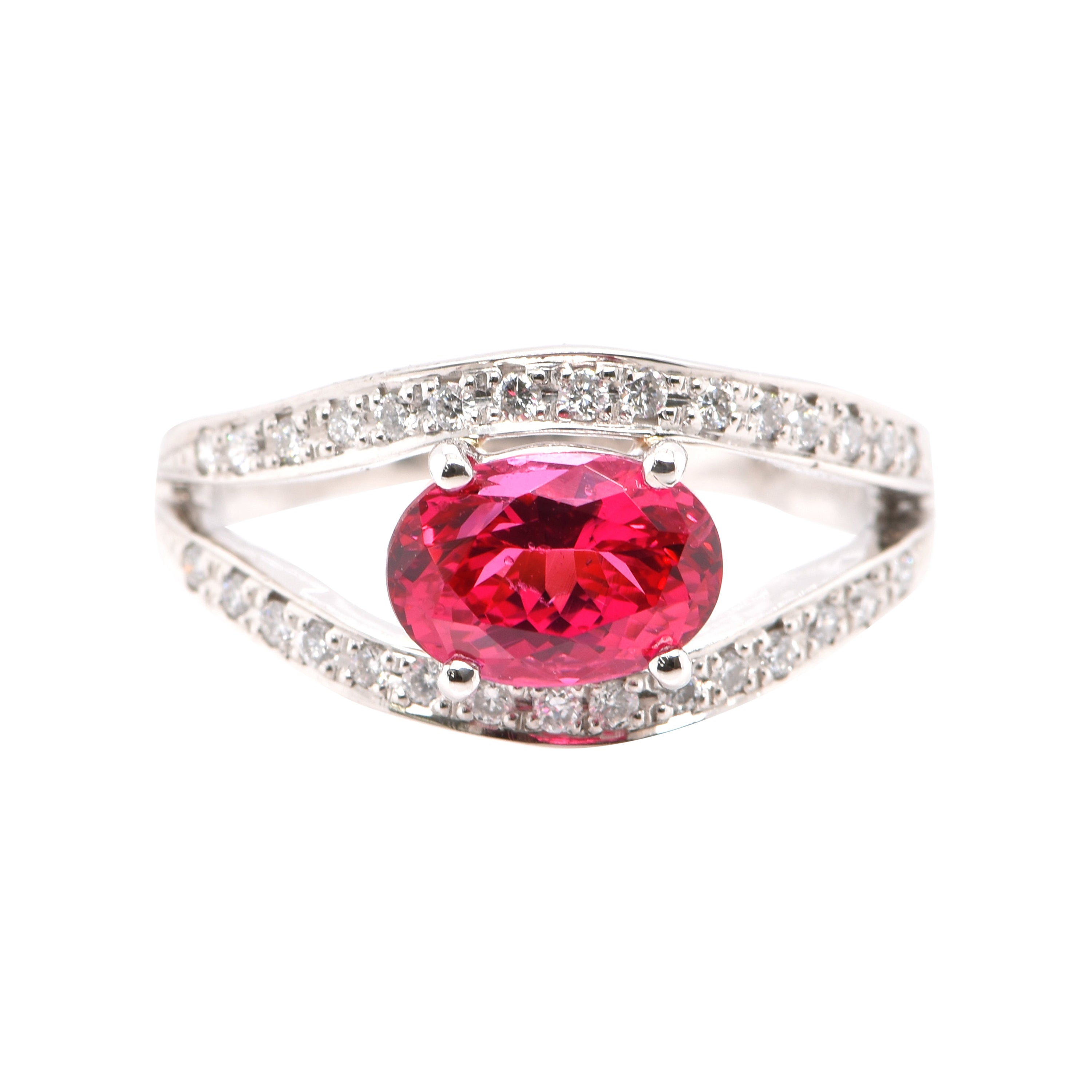 1.96 Carat Natural Red Spinel and Diamond Ring Set in Platinum