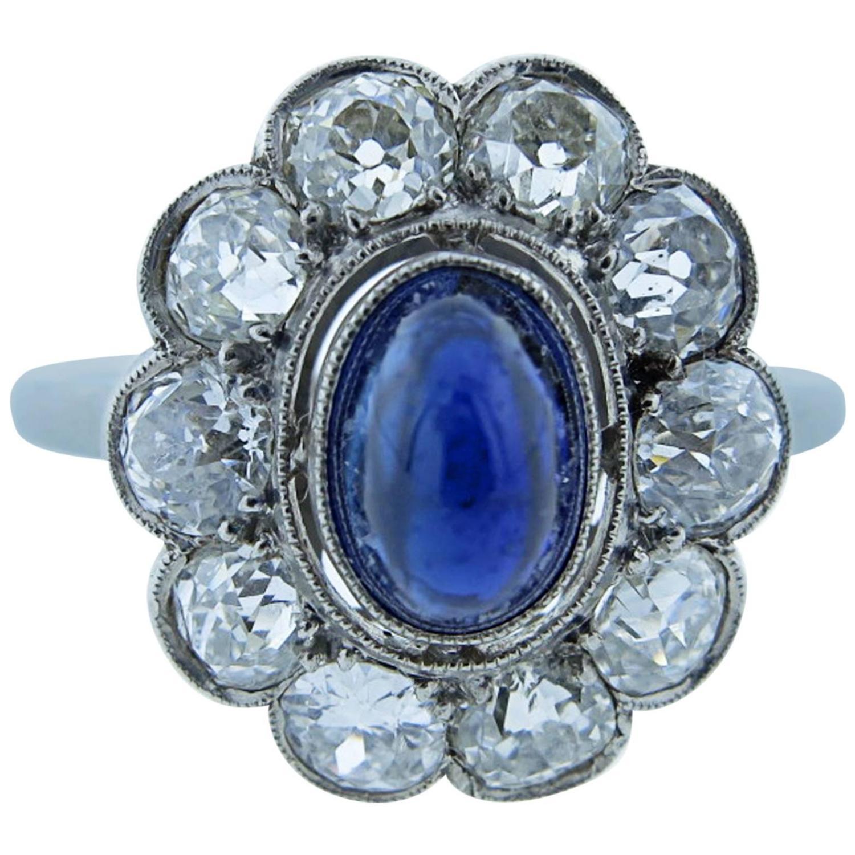 exquisite antique cabochon sapphire platinum ring