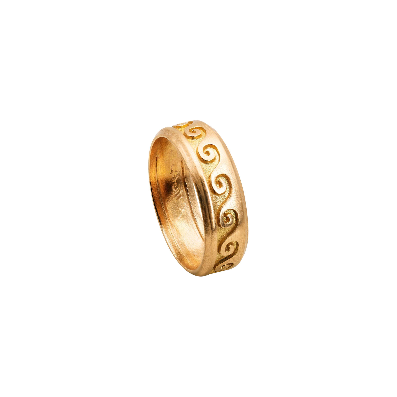 Customizable Ugolini 18Karat Yellow Gold Wave Unisex Design Engagement Band Ring