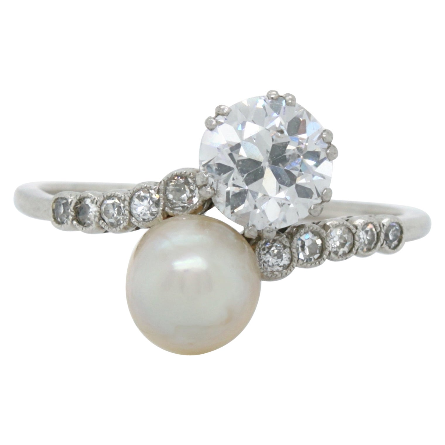 Edwardian Natural Pearl and Diamond Toi et Moi Ring, ca. 1900s