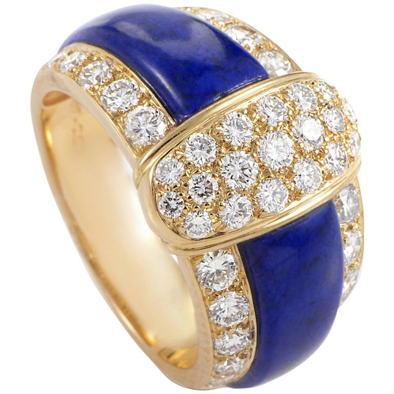 Van Cleef and Arpels Lapis Diamond Gold Band Ring at 1stdibs