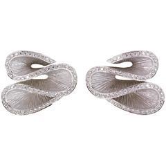Rodney Rayner Diamond Gold Ruffled Earrings