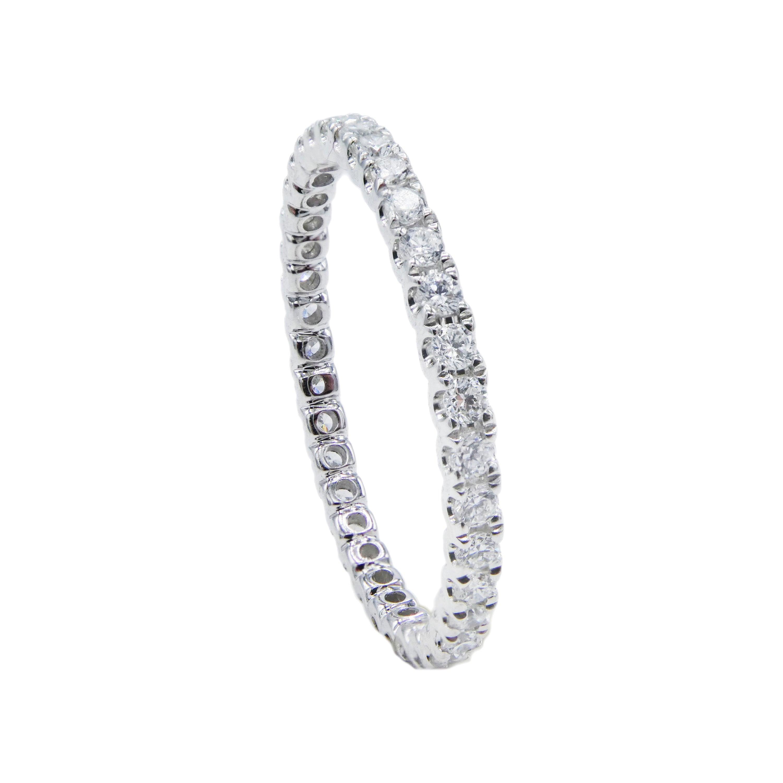 14 Karat Gold Diamond 0.44 Carat Eternity Band White Thin Stackable Ring