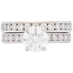 1.33 Carat GIA Cert Diamond platinum Wedding Set