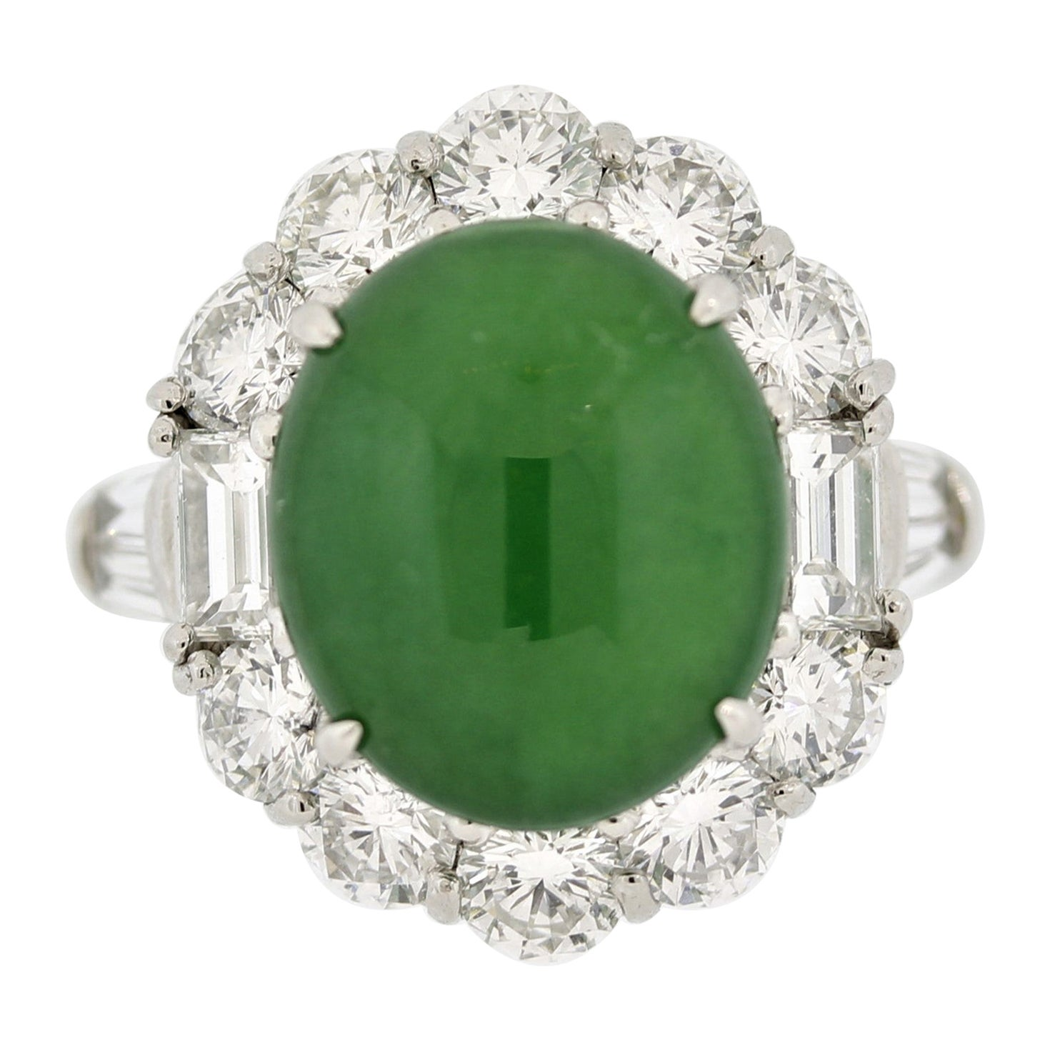 Fine Jadeite Jade Diamond Platinum Ring, GIA Certified