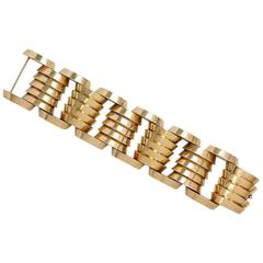 1940s Gold Machine Age Bracelet