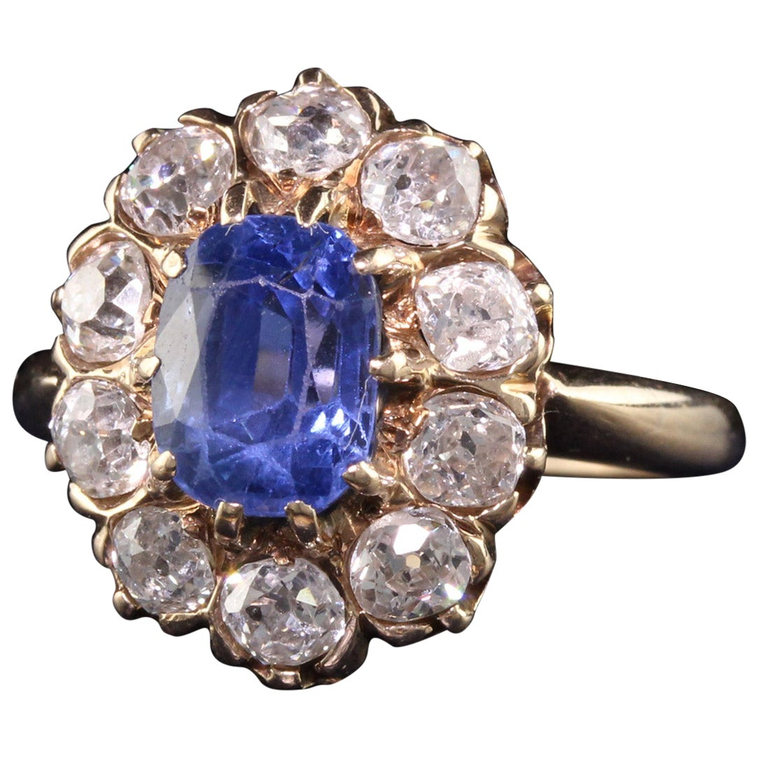 Antique Victorian 14K Yellow Gold Old Mine Diamond and Sapphire Engagement Ring