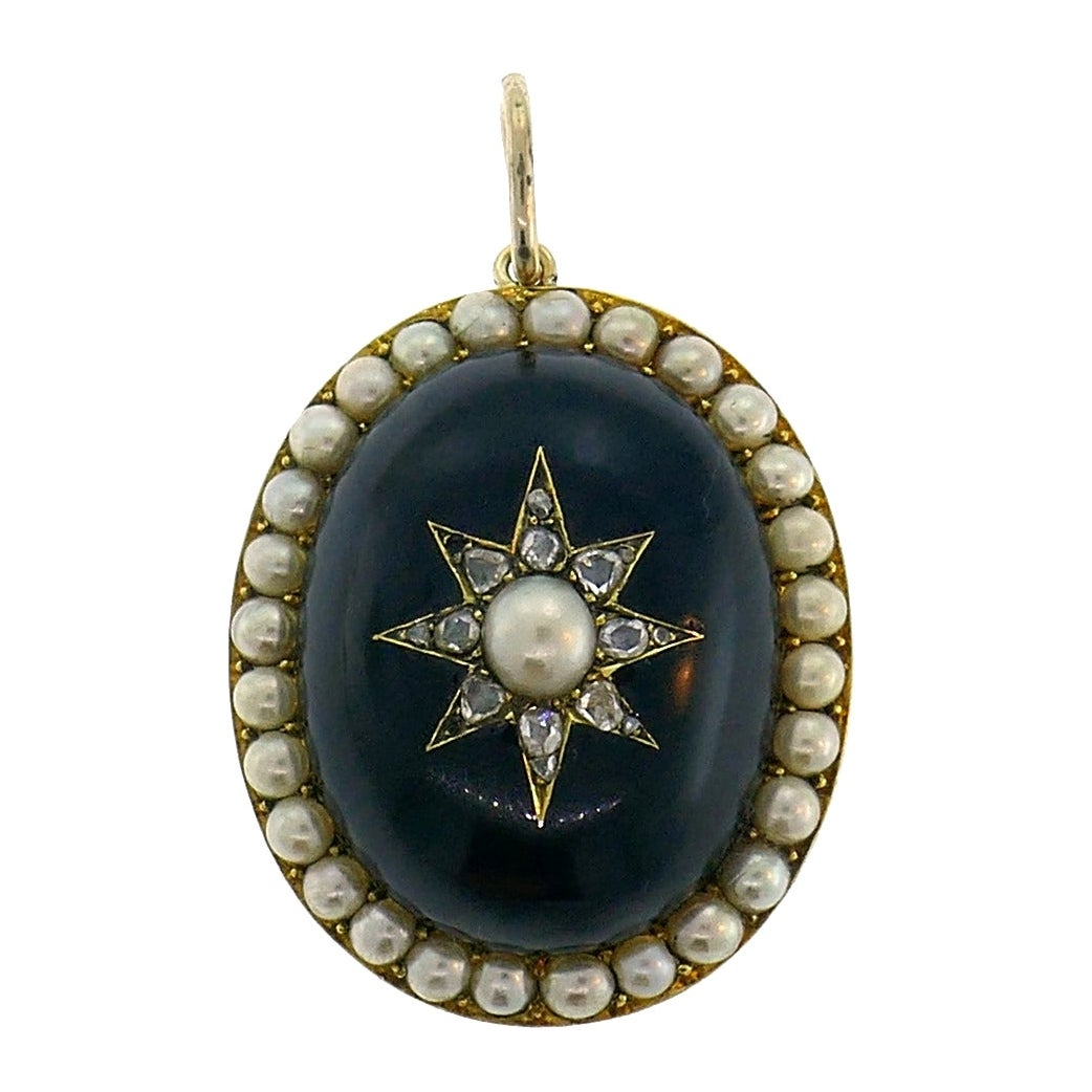 Victorian Pearl Diamond Yellow Gold Locket Pendant