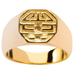 Alex Jona 18 Karat Yellow Gold Long and Happy Life Band Ring