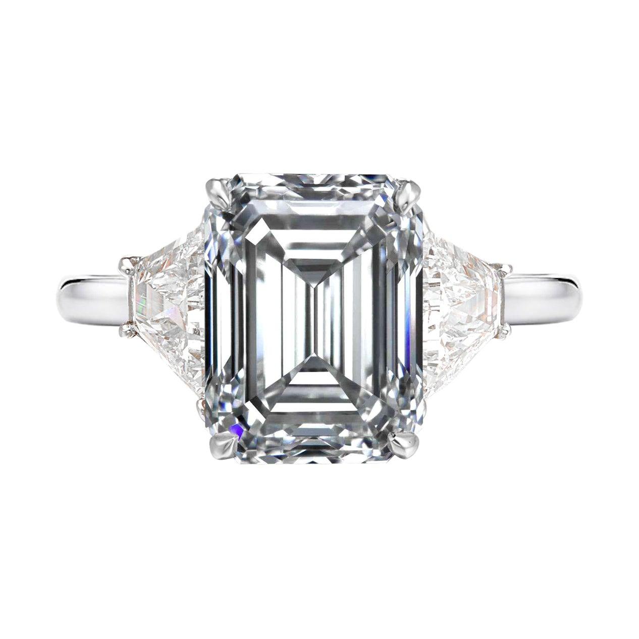 GIA Certified 2.55 Carat Emerald Cut Halfmoon Diamond Platinum Ring