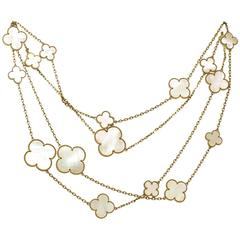 Van Cleef & Arpels Magic Alhambra Mother-of-Pearl 16 Motif Long Necklace