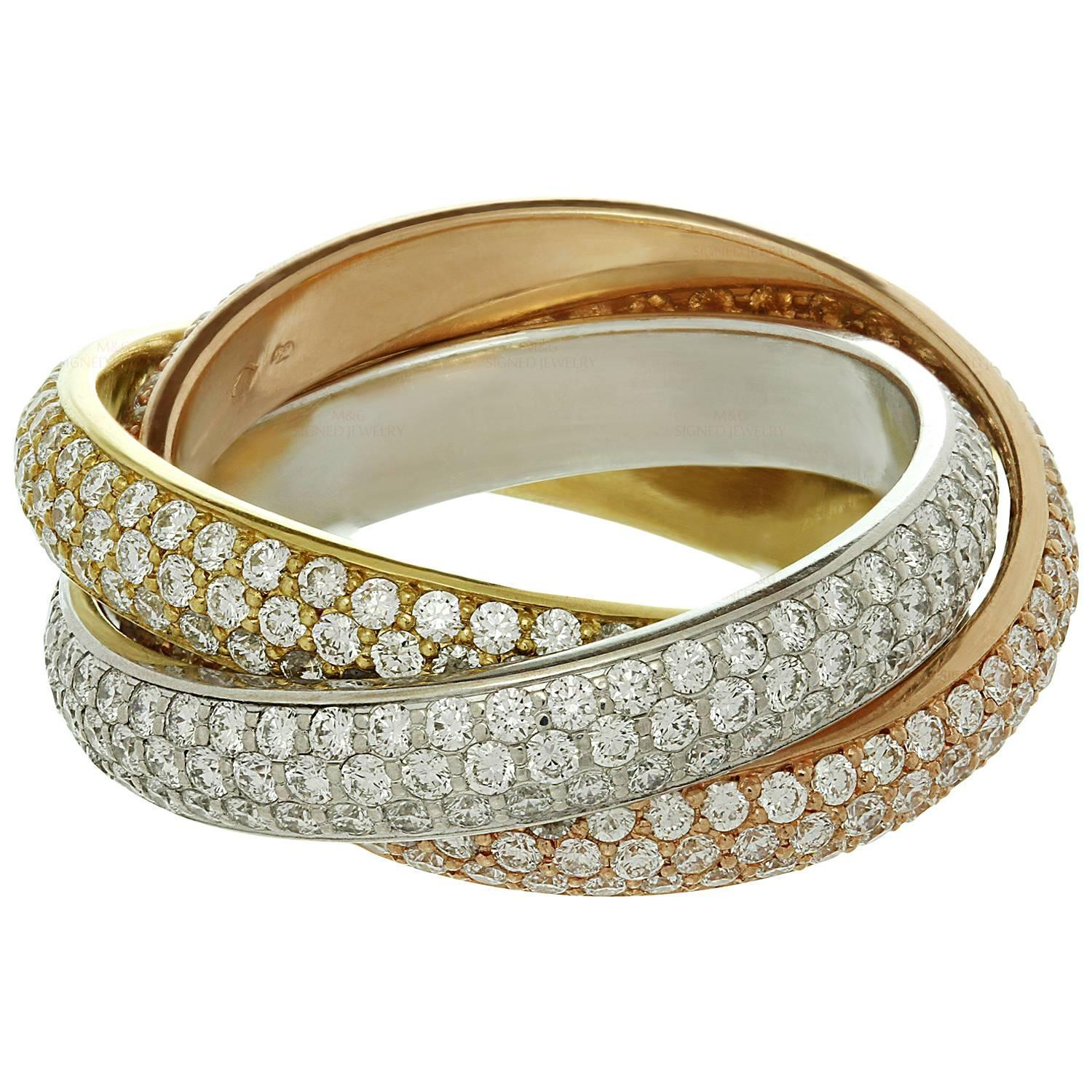 band gold jewelry diamond tricolor stackable gifts white rings nl ring anniversary in mx with