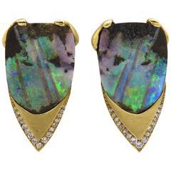 Impressive 1970s Boulder Opal Diamond Gold Earrings
