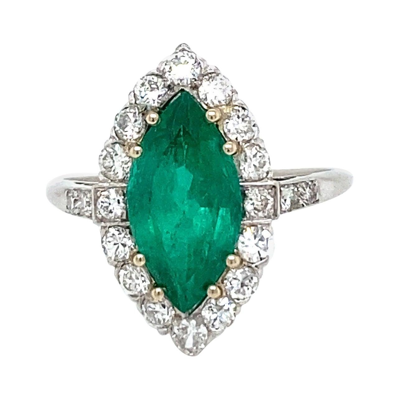 Contemporary 2 Carat Emerald Diamond Platinum Engagement Ring