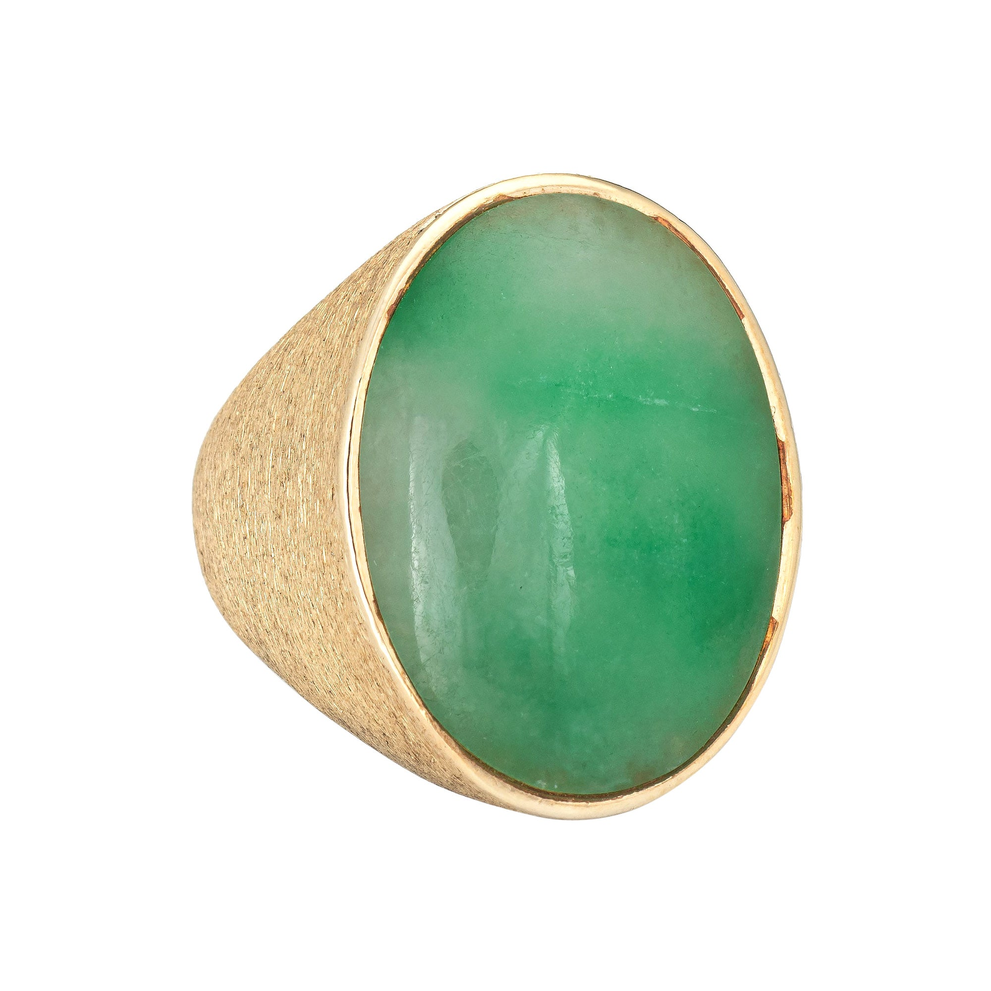 Large Jade Ring Vintage 14k Yellow Gold Oval Signet Men's Jewelry Gypsy
