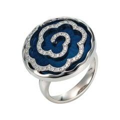 Victor Mayer Artemis Petrol Enamel Ring 18k White Gold with Diamonds