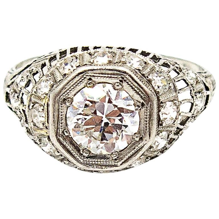 1926 Art Deco Diamond Platinum Engagement Ring
