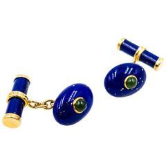 Elegant Lapis Lazuli Jade Gold Cufflinks