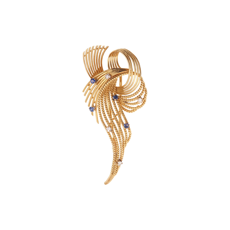 Retro Diamonds Sapphires 18 Carats Yellow Gold Brooch