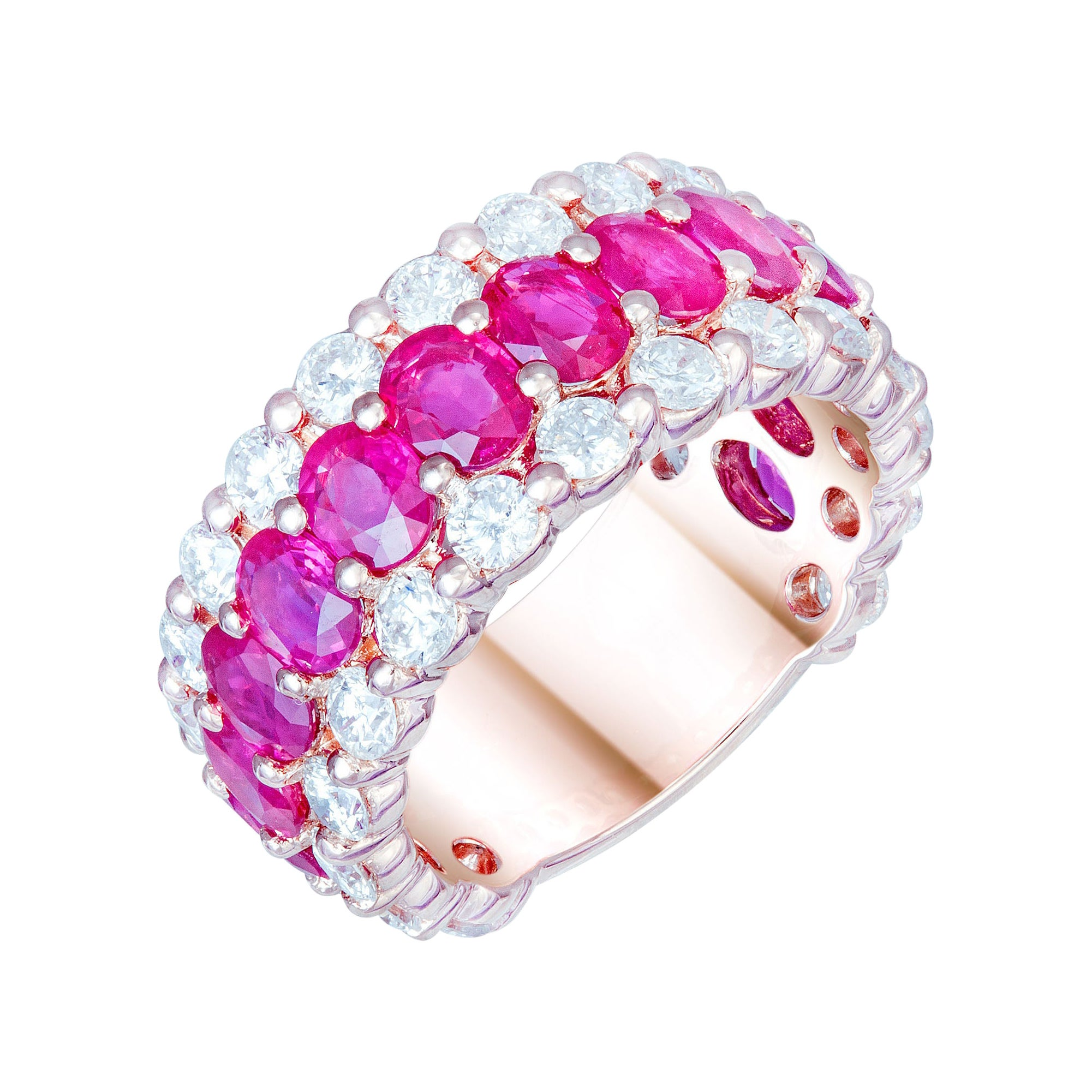 Classic Red Ruby White Diamond White Gold Band Ring for Her 18k