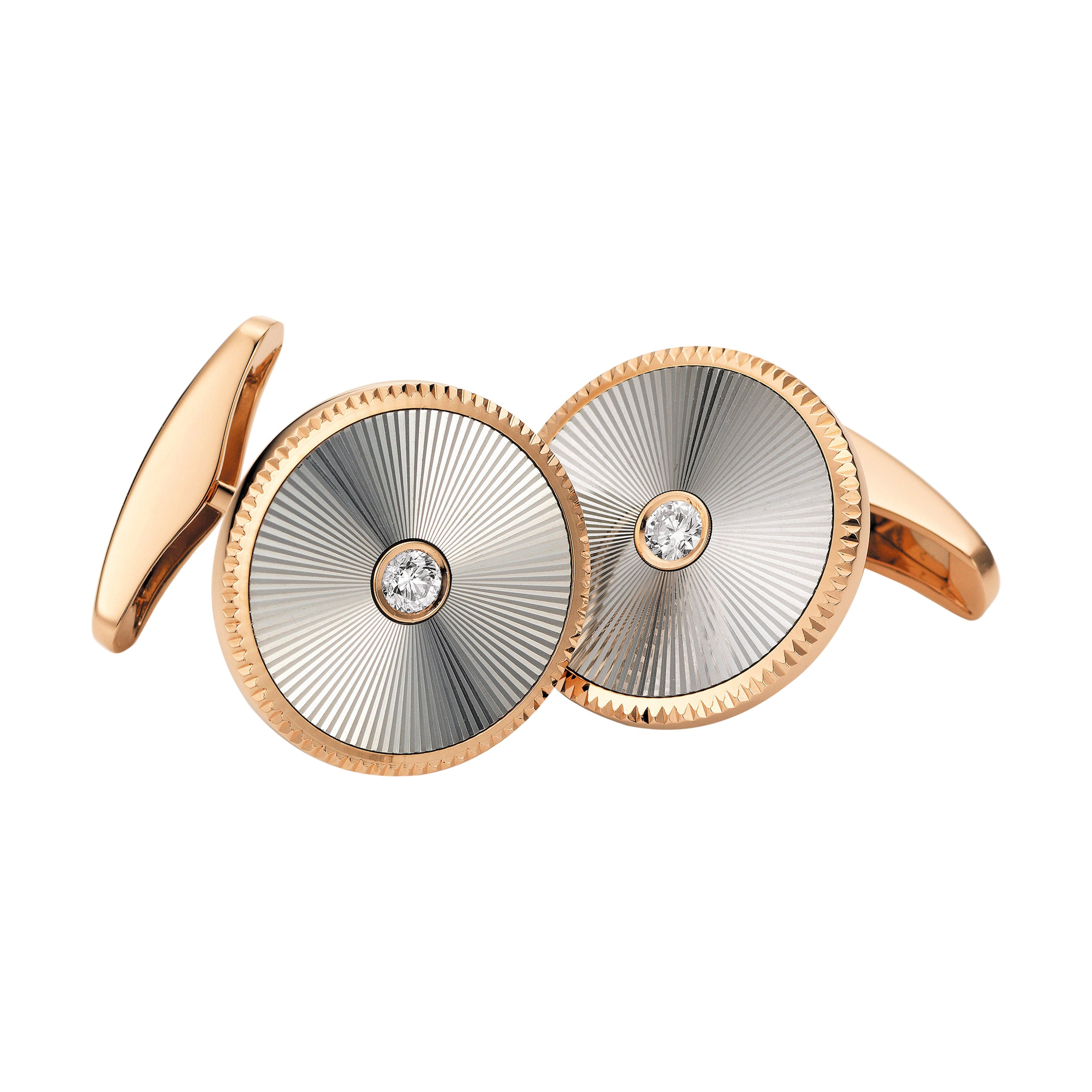 Starburst Limited Edition Cufflinks in Rose Gold & White Gold with Diamonds