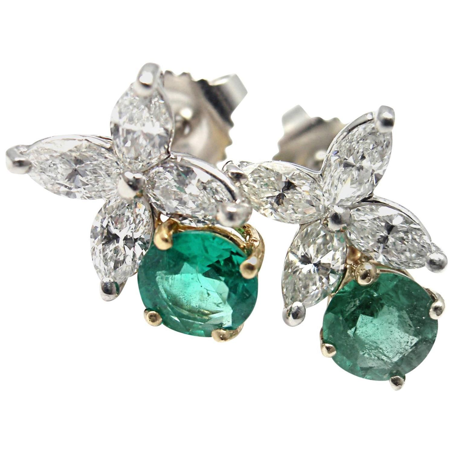 Emerald Cut Diamond Earrings Tiffany