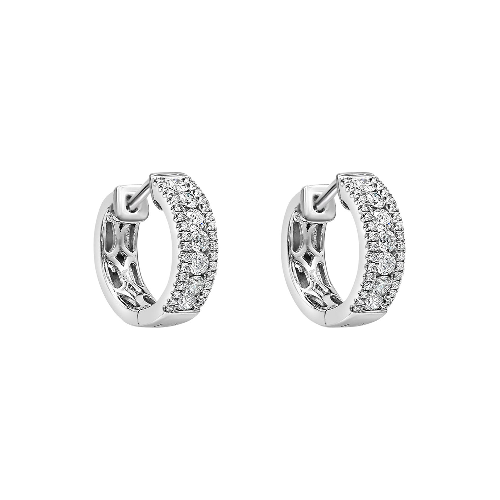 Roman Malakov 0.63 Carat Round Diamond Huggie Hoop Earrings