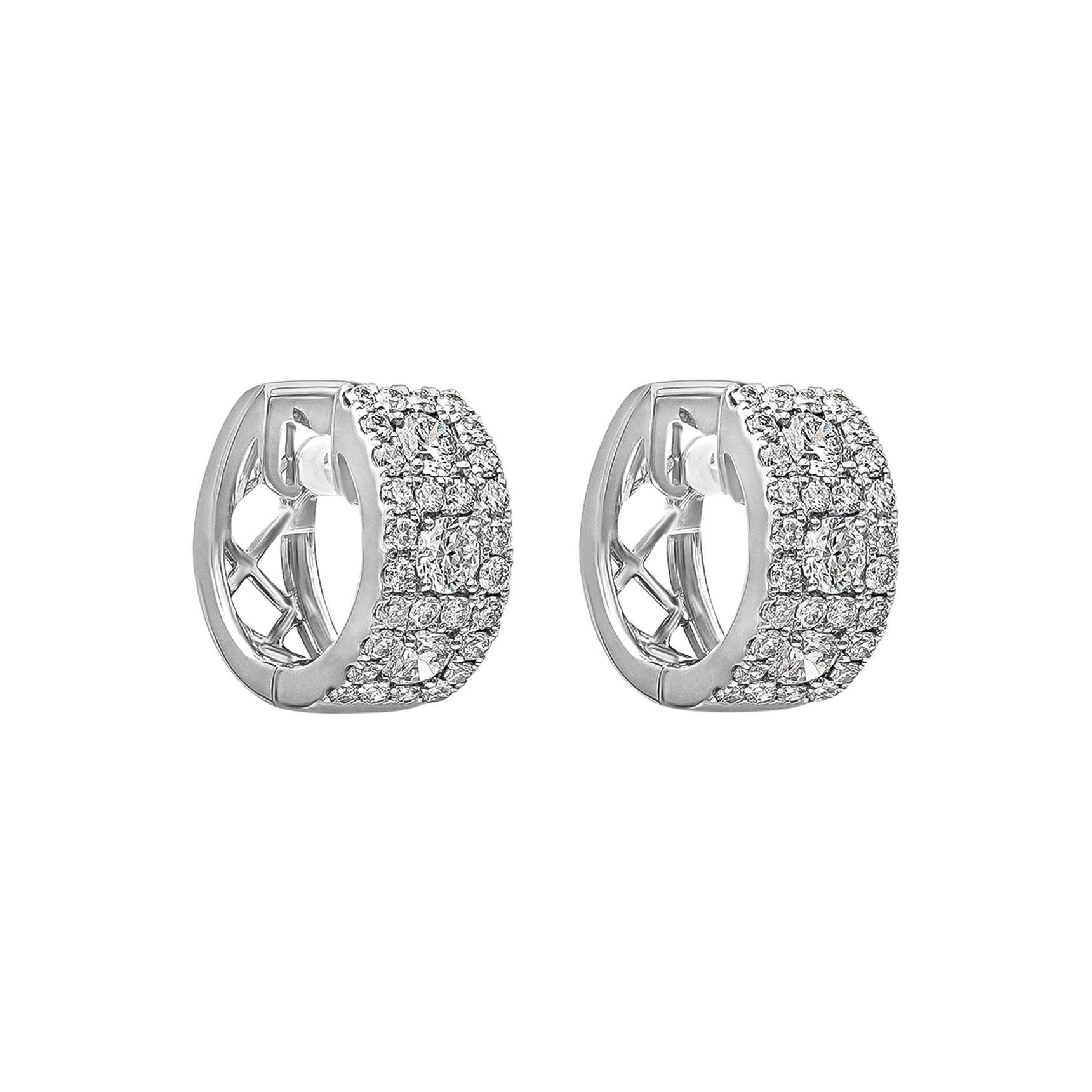 Roman Malakov 1.15 Carat Round Diamond Huggie Hoop Earrings