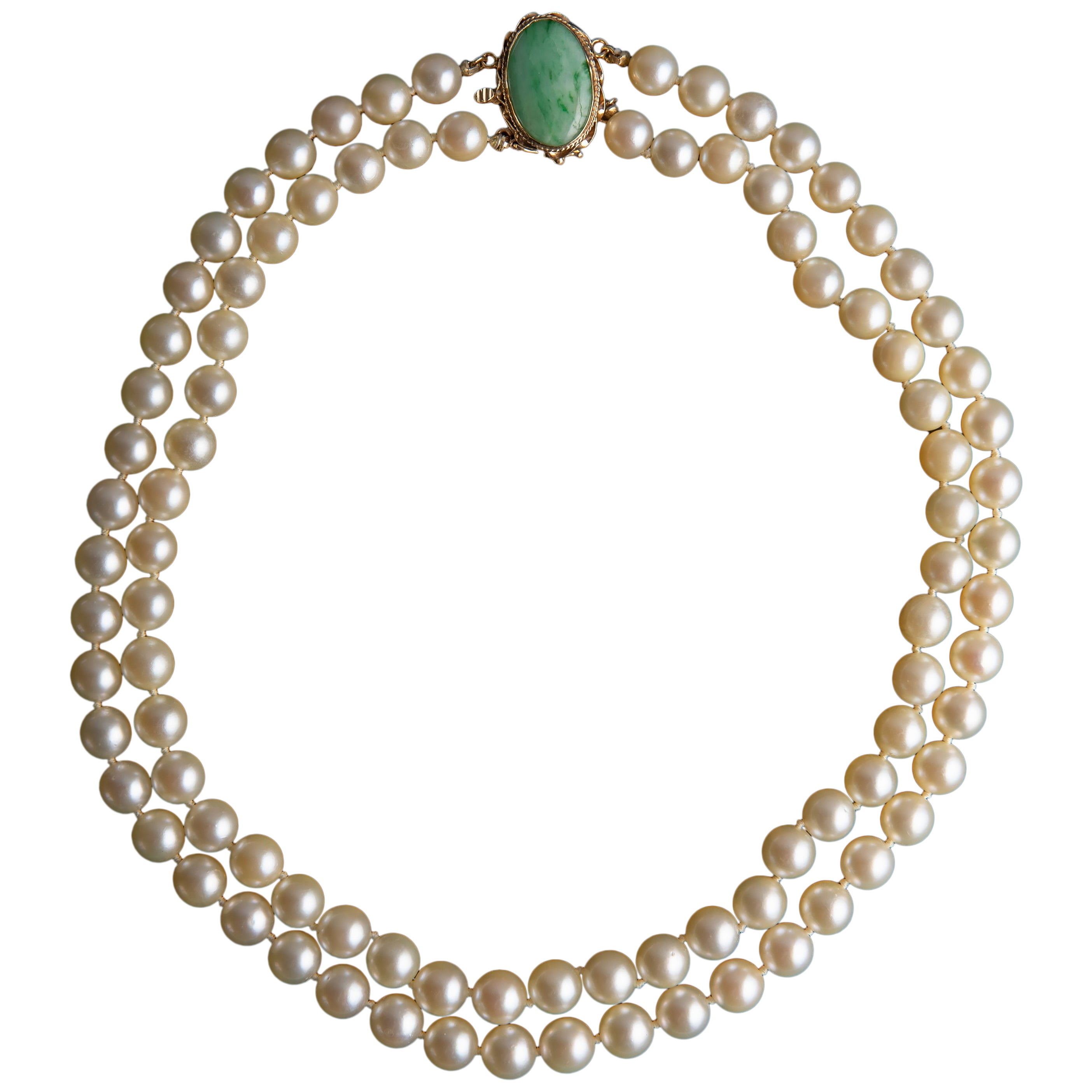 Akoya Pearl Necklace Double Strand Burmese Jadeite Clasp Certified