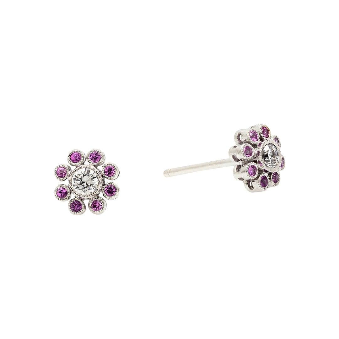 18k White Gold Diamond & Pink Sapphire Stud Earrings