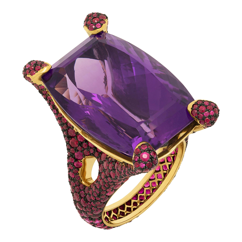 Amethyst 36.85 Carat Ruby 18 Karat Yellow Gold Ring