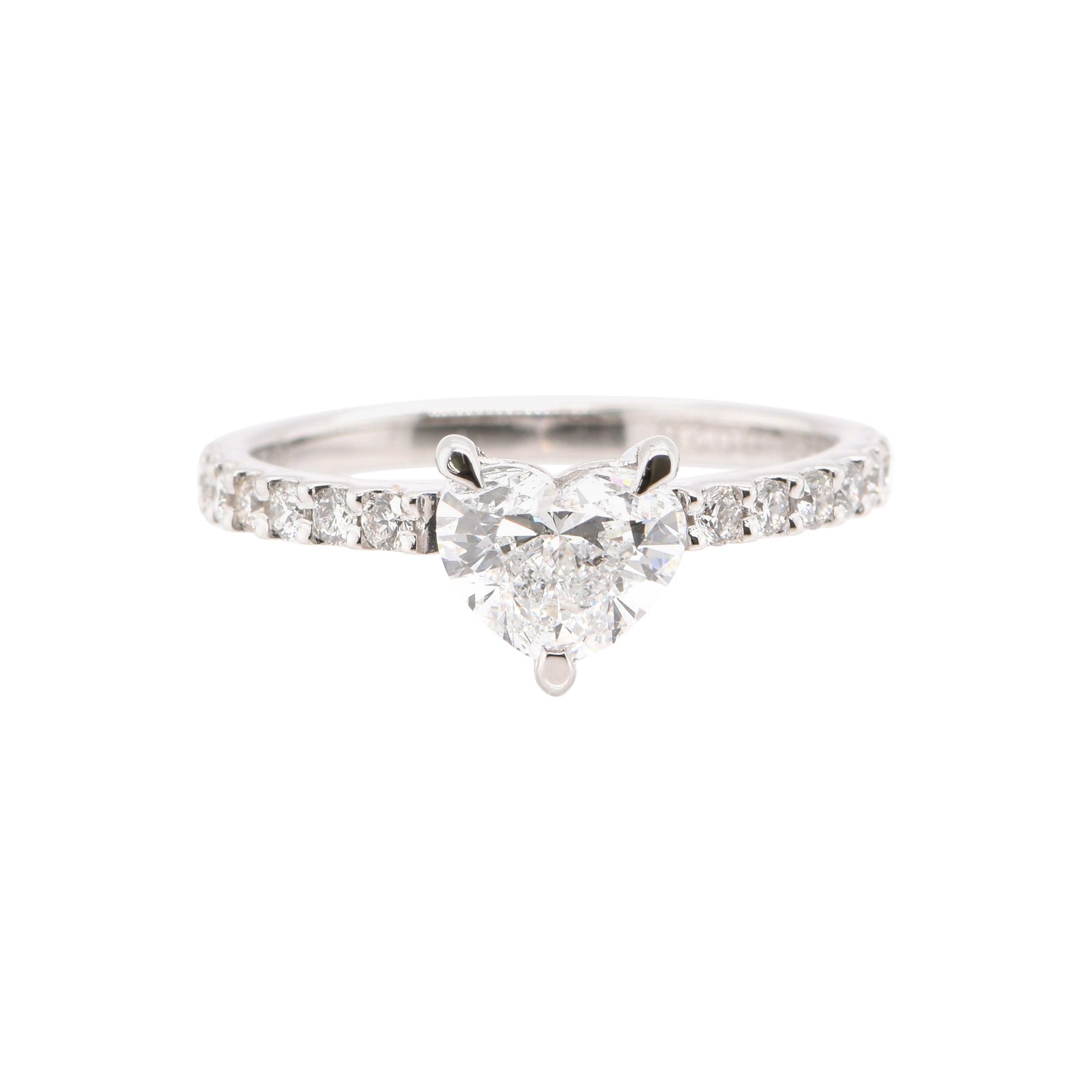 1.01 Carat, H SI-2 Natural Diamond Solitaire Ring Set in Platinum