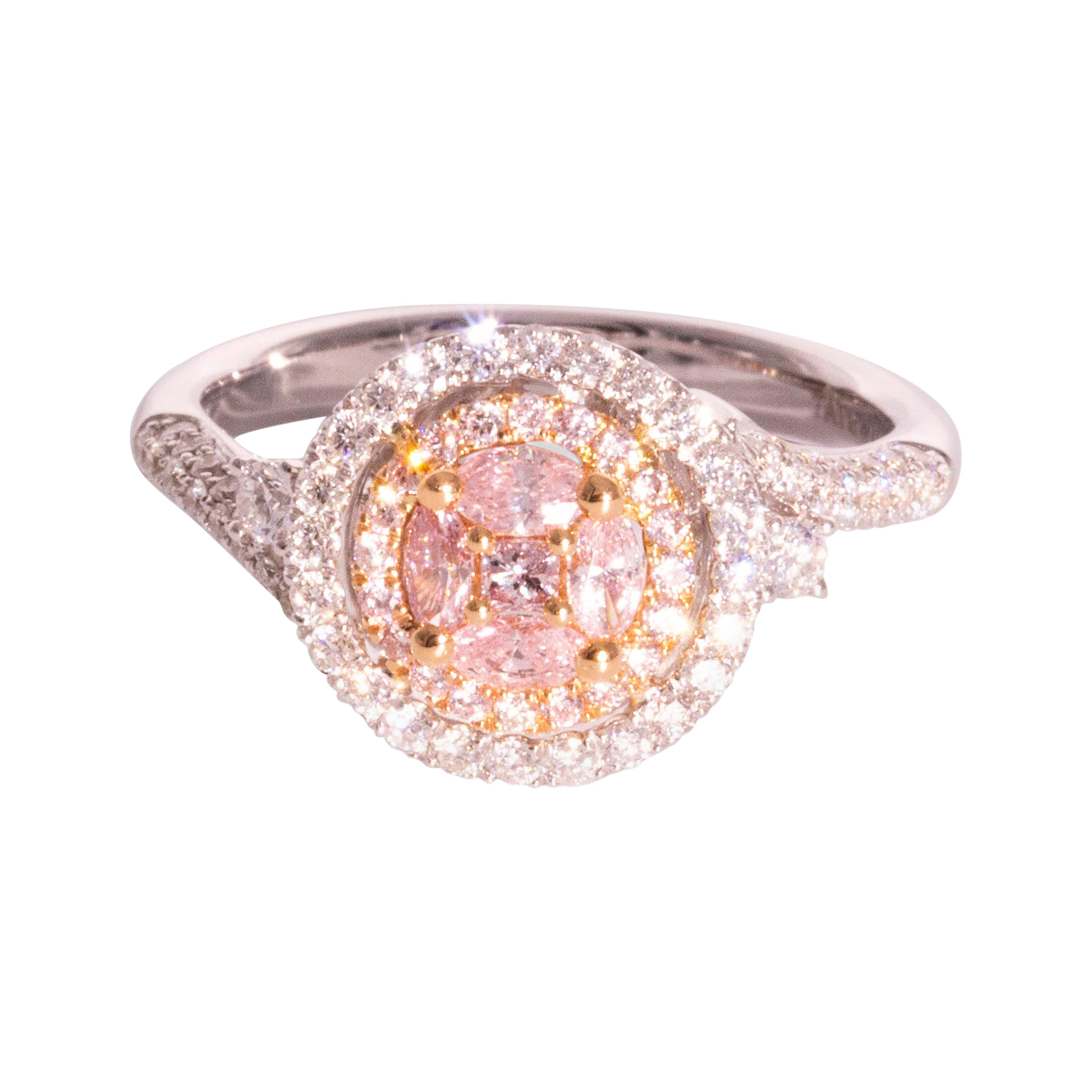 Natural Pink Diamond and White Diamond 18 Carat White and Rose Gold Halo Ring