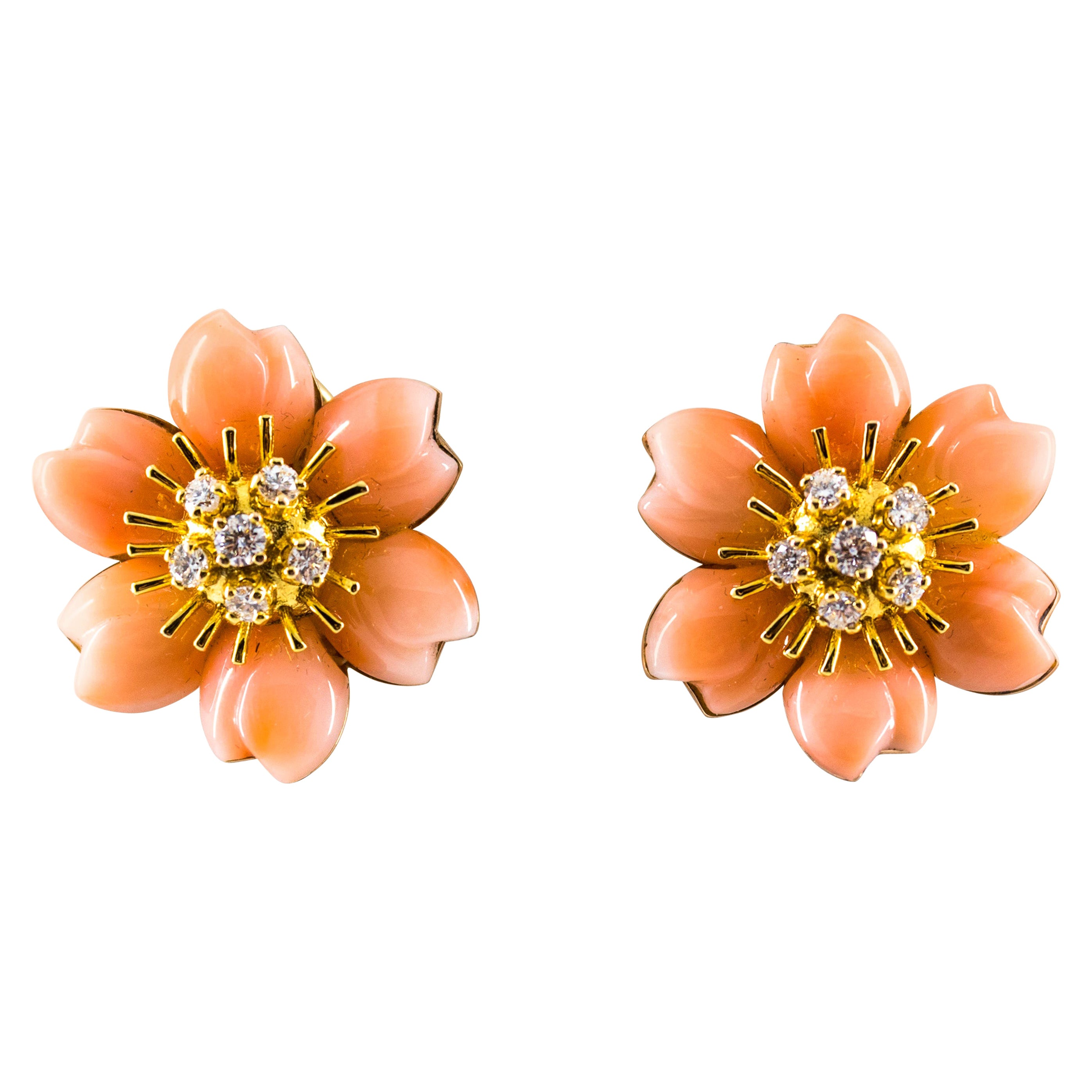 """0.65 Carat White Diamond Pink Coral Yellow Gold """"Flowers"""" Clip-On Earrings"""