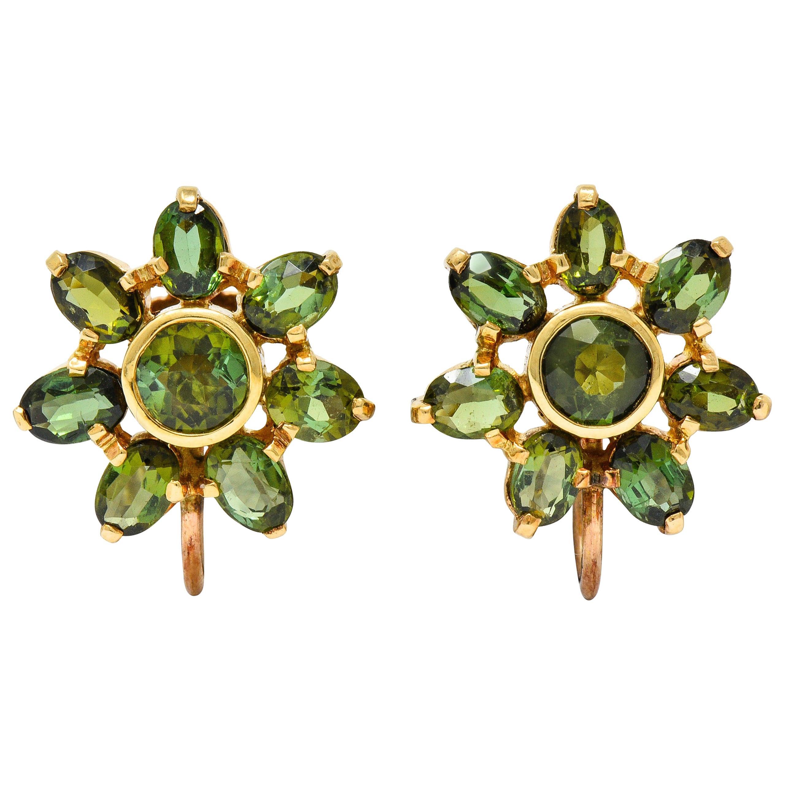 Tiffany & Co. Retro Green Tourmaline 14 Karat Gold Flower Screwback Earrings